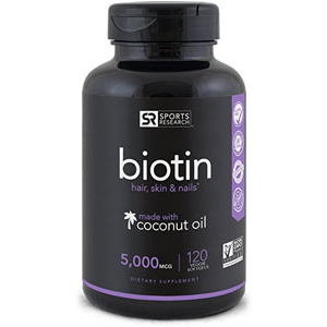 Hair health product Biotin is great for hair, nails, and skin