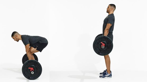 The proper form to deadlift. Keep the back straight and the bar close to your body. This exercise can burn fat.