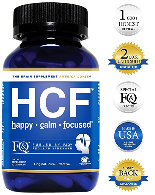 Nootropic REGULAR STRENGTH BRAIN SUPPLEMENT - HCF Happy, Calm & Focused brain nootropic (fueled by FQ amino-acids & 15+ pure & effective neuro-nutrients) contains 90 easy to swallow vegetable capsules.