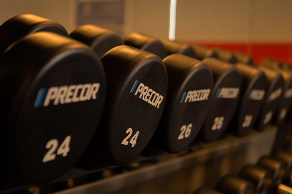 An image of weights at the gym.