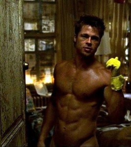Brad Pitt displaying his lean 6% body fat from Fight Club